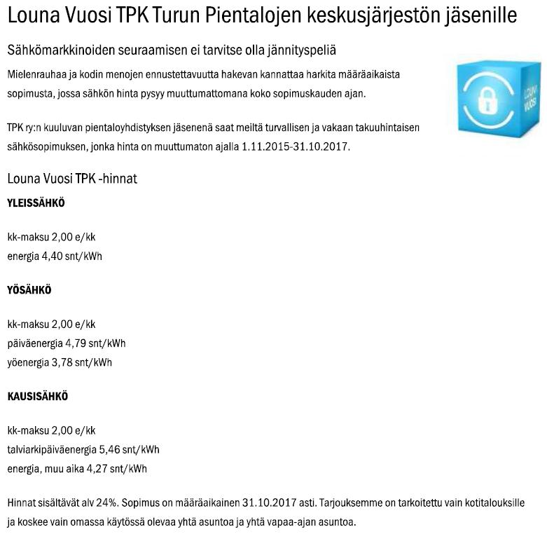 Louna Vuosi TPK sähkötarjous